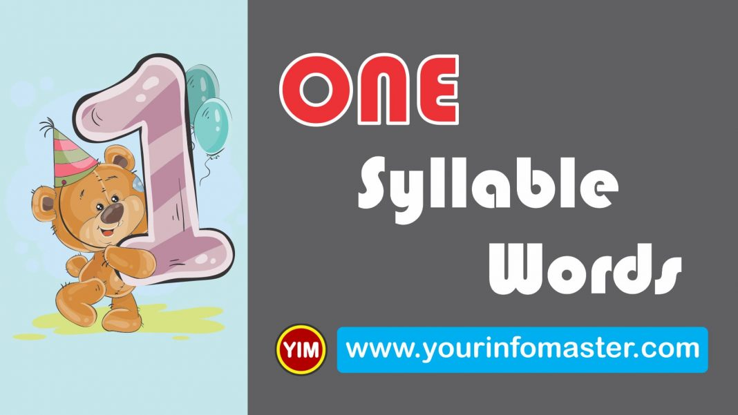 1 syllable, 1 syllable words, awesome words, cool 1 syllable words, cool words, examples of one syllable words, Learning Spellings, One Syllable Words, One Syllable Words List, one syllable words list pdf, Syllable Words Bank, word of the day for kids, Words Bank, words with one syllable, Words Worksheets